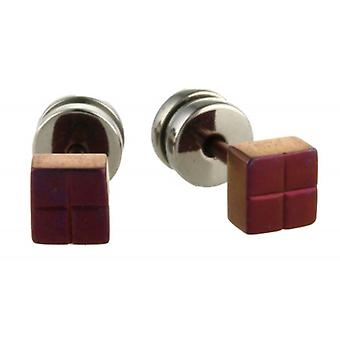 TI2 titane Square boucles d'oreilles - Mulberry Brown