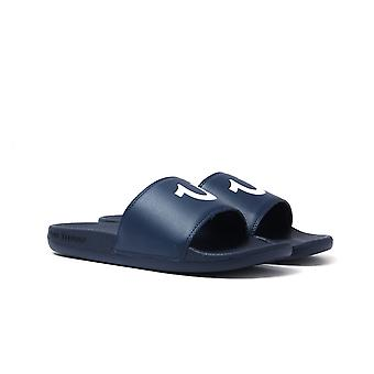 True Religion Navy & White Pool Slides with Woven Carry Bag