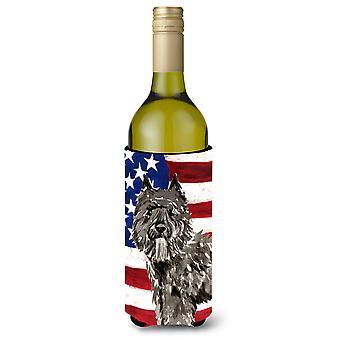 Patriótica USA Bouvier des Flandres vino botella Beverge aislador Hugger