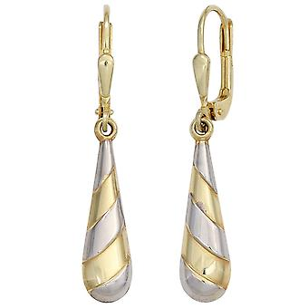 333 gold yellow gold Golden boutons part rhodium plated earrings
