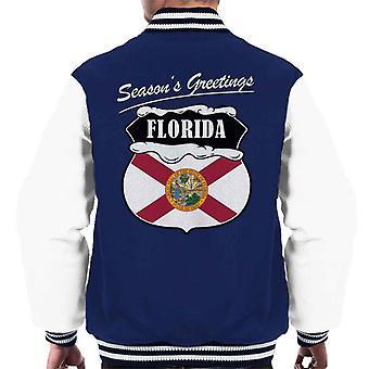 Seasons Greetings Florida State Flag Weihnachten Männer Varsity Jacket