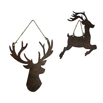Rusty Galvanized Metal Deer Silhouette Hanging Ornament Set