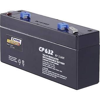 Conrad energy CE6V/3,2Ah 250103 VRLA 6 V 3.2 Ah AGM (W x H x D) 134 x 61 x 34 mm 4.8 mm blade terminal Maintenance-free