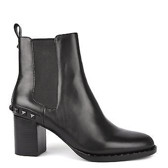 Ash calzado vértigo cuero negro tachonado bota tacón
