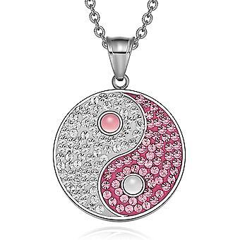 Yin Yang Magic Balance Amulet østrigske krystaller Pink og hvid Cats Eye vedhæng 18 tommer halskæde