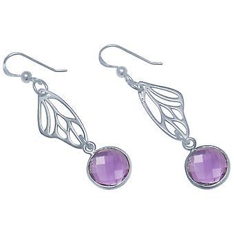 Gemshine - damas - Pendientes - plata 925 - mariposa alas - amatista - Violeta - Violeta - 4 cm