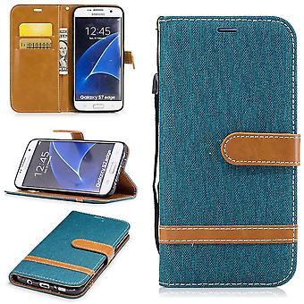 Funda para Samsung Galaxy S7 borde jeans celular protector funda verde