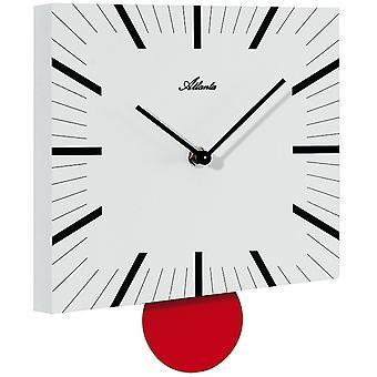 アトランタ 4411/0 アナログ壁時計水晶振り子振り子時計白赤の広場