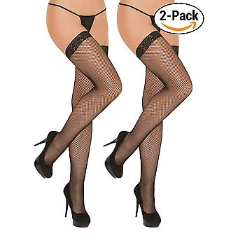 Womens Plus Size Fishnet Lace Top Thigh High Net Stockings for Garter Belts Hosiery- Pack of 2