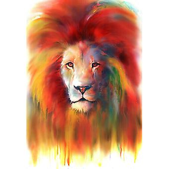 Lion Miniprint watercolor miniature