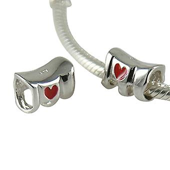 Sterling Silber mit Emaille Herz Charme