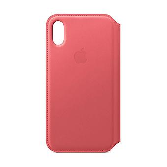 Apple iPhone XS skinn Folio - Peony rosa