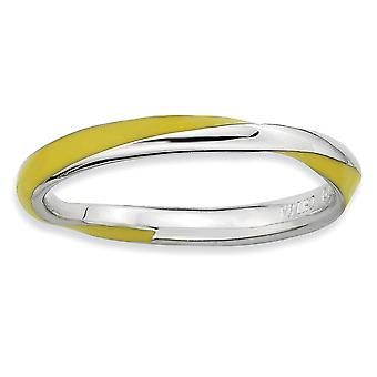 Sterling Silver Polished Rhodium-plated Twisted Yellow Enameled 2.5 x 2.25mm Stackable Ring - Ring Size: 5 to 10