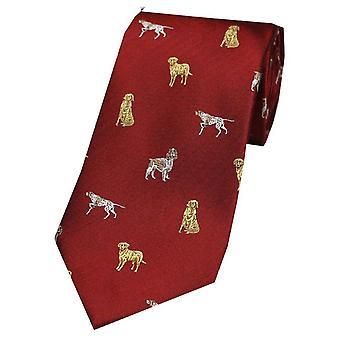 Дэвид ван Хаген собак страны шелковый галстук - красный