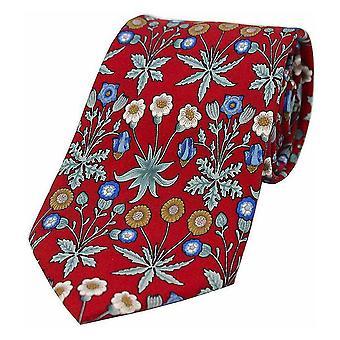 Posh and Dandy Luxury Flowers Silk Tie - Red/Blue