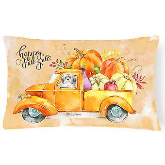 Fall Harvest Shih Tzu Puppy Cut Canvas Fabric Decorative Pillow