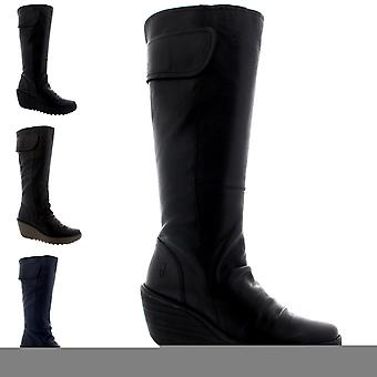 Womens Fly London Yulo Leather Winter Casual Wedge Heels Knee High Boots