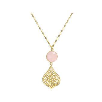 GEMSHINE Damenhalskette Mandala Rosenquarz Silber, vergoldet oder rose