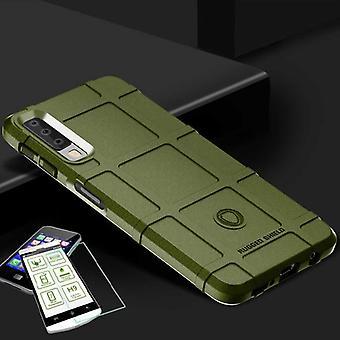 Für Samsung Galaxy A9 A920F 2018 Shield Case TPU Silikon Grün + 0,26 mm 2.5D H9 Hartglas Tasche Hülle Cover Hülle
