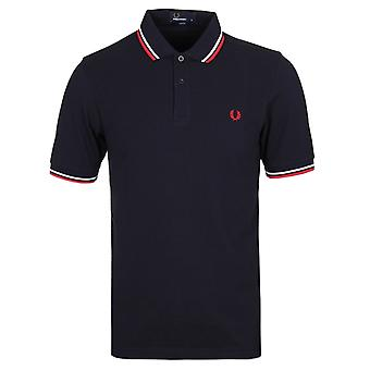 Fred Perry M3600 Marine & rot Twin kippte Slim Fit Polo-Shirt