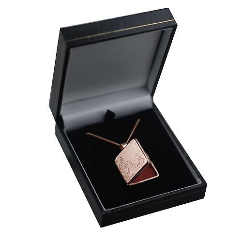9ct Rose Gold 22mm half hand engraved flat square Locket with a curb chain