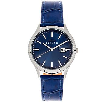 Elevon Concorde Leather-Band Watch w/Date - Silver/Blue