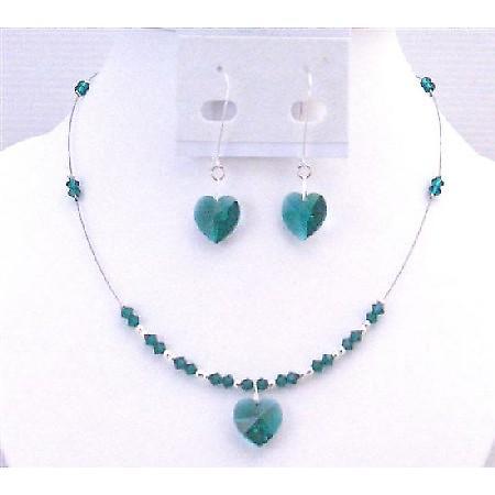 Swarovski Emerald Crystals Heart Pendant Jewelery Hoop Valentine Gift