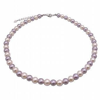 Cream Necklace Cultured Pearls & Lt. Purple Choker