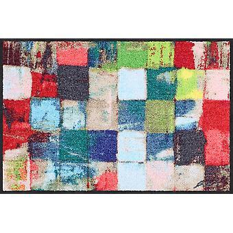 Salon lion doormat colourful squares 50 x 75 cm washable dirt mat