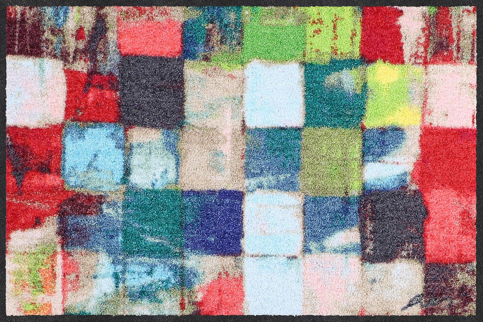 Salonloewe Fußmatte Colourful squares 50 x 75 cm waschbar Schmutzmatte
