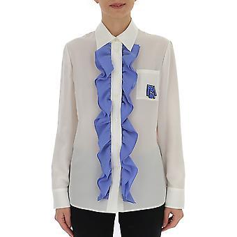 Camisa de seda de Prada blanco/azul