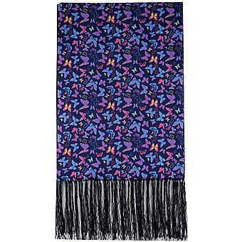 David Van Hagen borboleta luxo lenço de seda - Marinha/laranja/rosa
