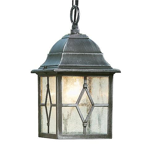 Searchlight 1641 Genoa Aluminium Outdoor Porch Lantern With Leaded Glass