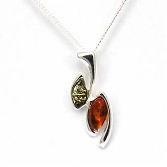 Toc Sterling Silver Amber Geometric Shaped Pendant on 18 Inch Chain