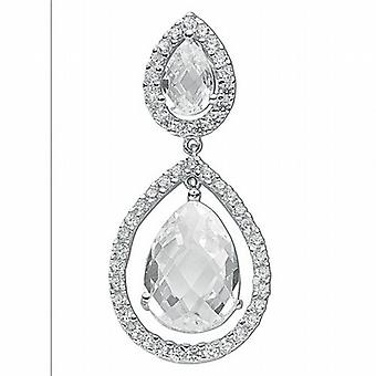 TOC Sterling Silver Double Crystal Tear Drop Pendant on 18 Inch Snake Chain