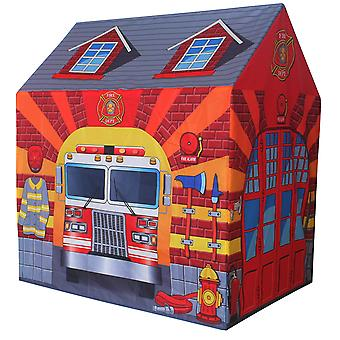 Charles Bentley Fire Station Play Tent Firefighter Wendy House Playhouse Den-Lightweight Compact Imaginative Play