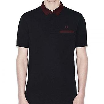 Fred Perry Men's Oxford Trim Collar Pique Polo Shirt Slim Fit Short Sleeved