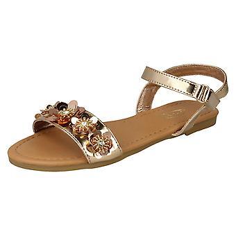 Piger spot på Sequin blomst trim sandaler H0270-rosa guld syntetisk-UK størrelse 10-EU størrelse 28-US size 11