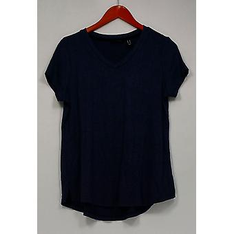 H by Halston Top Super Soft Knit Short Sleeve Tee Blue A293994