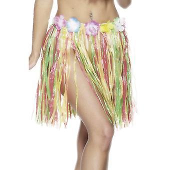 Hawaiian Hula rokje meerkleurige met bloemen van elastiek in de taille 46cm
