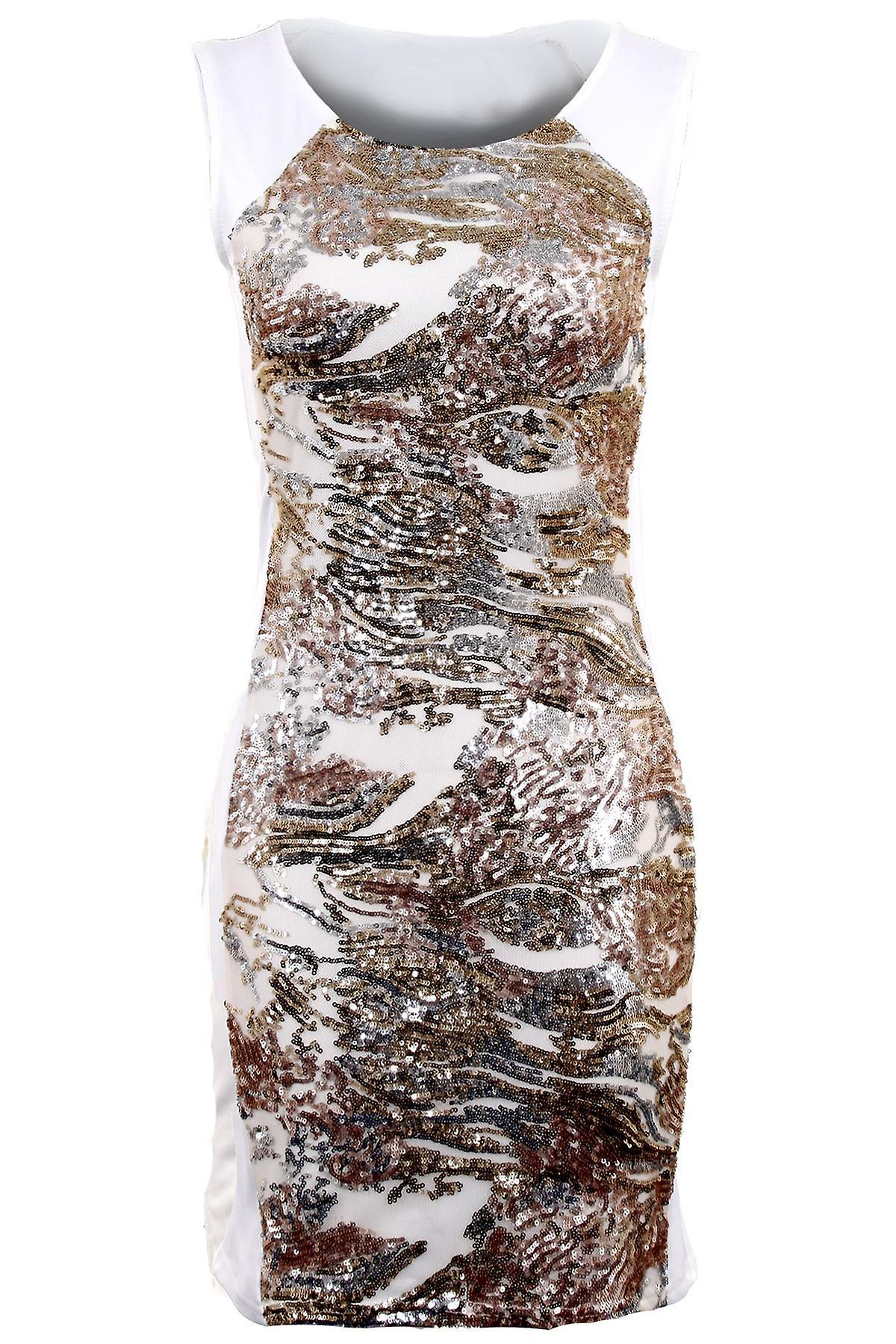 Ladies Silver Black Gold Front Back Sequin Women's Bodycon Sexy Party Dress