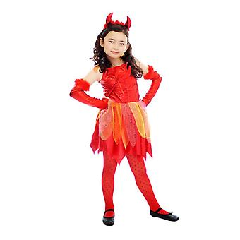 Girls Childrens Halloween Devil Fancy Dress Costume Age 4-6