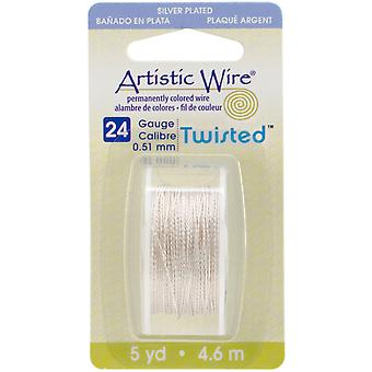 Artistic Wire Twisted Round Non Tarnish Silver 24 Gauge 5Yd Awd24ts1