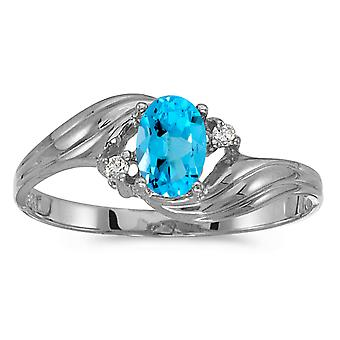 Sterling Silver Oval Blue Topaz And Diamond Ring