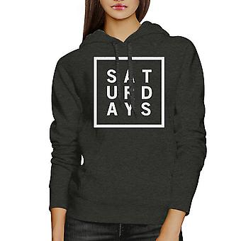 Saturdays Unisex Charcoal Grey Hoodie Simple Typography Gift Ideas