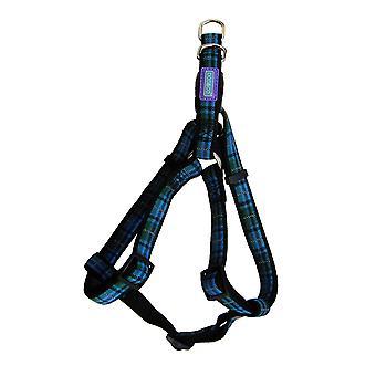 Dog & Co Nylon Reflective Harness Tartan Blue 19mm X76cm