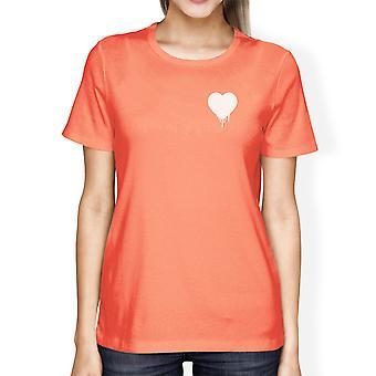 Melting Heart Women's Peach T-shirt Cute Crew-Neck Tee For Couples