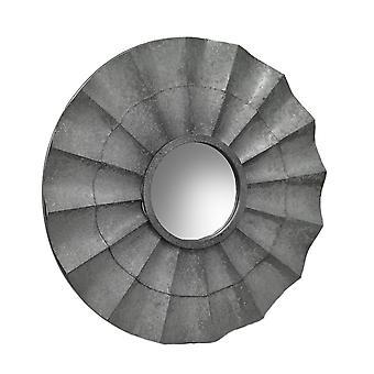 Dekorativ galvaniserad yta ruggig metall rustik vägg spegel 30 tum