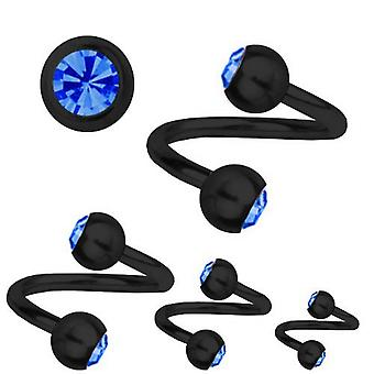 Spiral Twist Piercing Black Titanium 1,6 mm, SWAROVSKI ELEMENTS Sapphire Blue | 8-12 mm