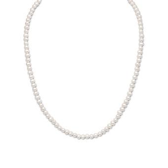 Sterlingsølv 15 tommer + 2 tommer Extention hvid ferskvands Kulturperler Pearl til drenge eller piger halskæde